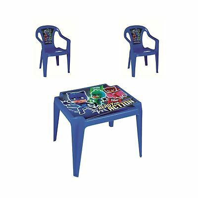 PJ Masks Kids Blue Table + 2 Chairs Set Indoors Outdoors Gardens Patios Picnics