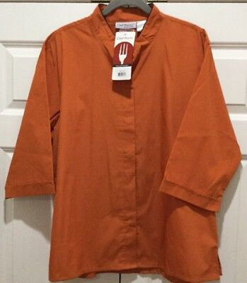 Chef Works Size XL Shirt Coat Button Up Short Sleeve Cook Burnt Orange NWT