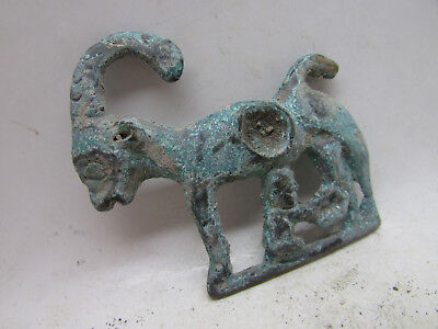 Circa 1200-800Bc Ancient Luristan Bronze Mount Depicting A Ram