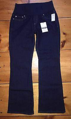 GAP MATERNITY~ NWT! 1969 Demi Panel Long & Lean Jeans Darkwash Flare 2 Short $69