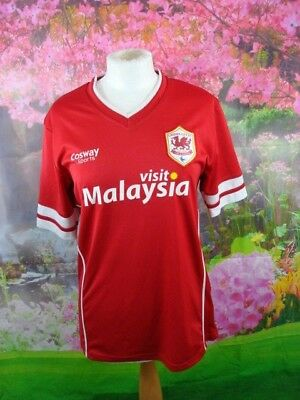 Cardiff City Fc Mans Size Small Football Shirt Red Cosway Sport Make