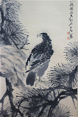 "RARE Excellent Chinese 100% Hand Scroll & Painting ""Eagle"" By Qi baishi 齐白石 松鹰图"
