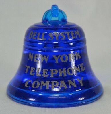 Glass Paperweight Bell System New York Telephone Company Cobalt Blue Vintage