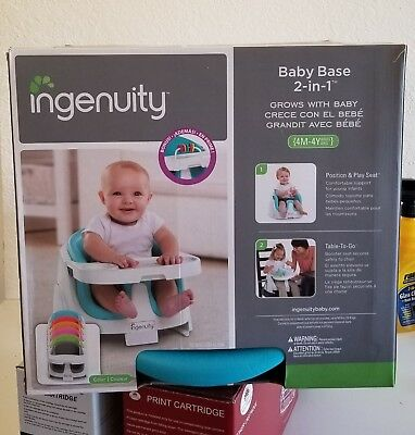 Ingenuity Baby Base 2-In-1 Position and Booster Seat - Peacock Blue