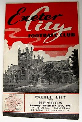 Exeter City v Hendon 1955/56 FA. Cup R2. programme.