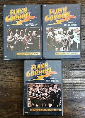 Lot of 3 Flash Gordon DVDs (Buster Crabbe, Image Entertainment, 2002) OOP, NEW