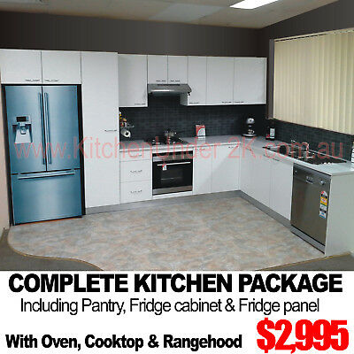 COMPLETE KITCHEN PACKAGE WITH PANTRY BENCHTOPS & APPLIANCES 3 Colours 33 Designs