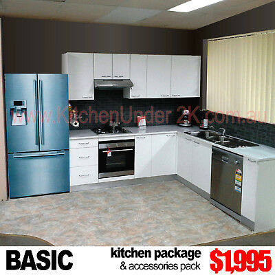 COMPLETE NEW KITCHEN WITH GLOSS BENCHTOP - 3 Colours, 30 Designs
