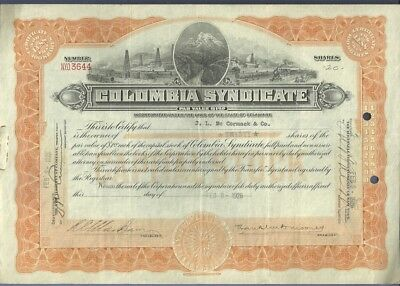1926 Engraved Stock Certificate COLOMBIA SYNDICATE OIL DELAWARE Oil Drilling