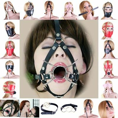 Leather Head Harness Panel Mouth Gag Restraint Face Mask Collar Restraint Couple