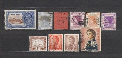 Hong Kong,10 Vf Early Stamps, Victoria-Geov-Elizabeth, Great Cds, Fresh.