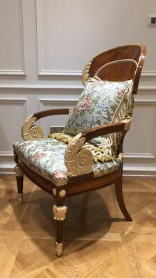 A stunning example of a Russian antique armchair ACQUAMARINA FLORAL SILK FABRIC