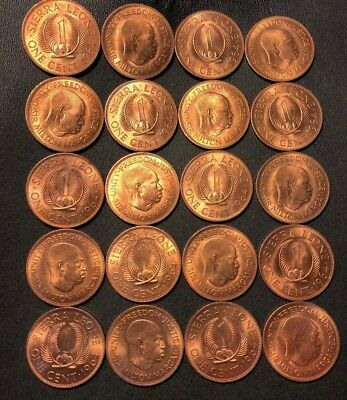 Old Sierra Leone Coin Lot - 20 AU/UNC Coins - Hard to Find - Lot #613