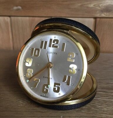 Vintage Europa Travel Alarm Clock In Round Black Case Germany
