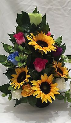 Artificial Silk Flowers Sunflower Grave Pot Arrangement Flat Back