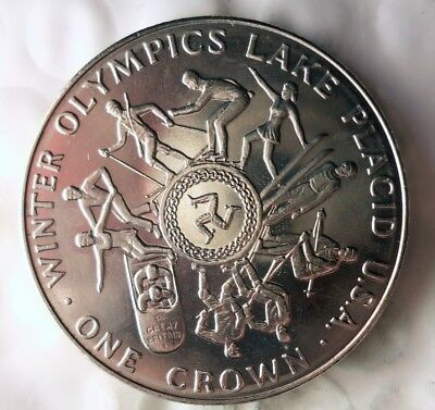 1980 ISLE OF MAN CROWN - AU/UNC - Very Low Mintage Coin - Lot #613