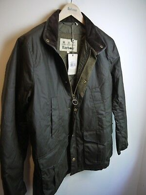 Barbour Men's Hereford Waxed Jacket, Olive Green, New With Tags, Medium