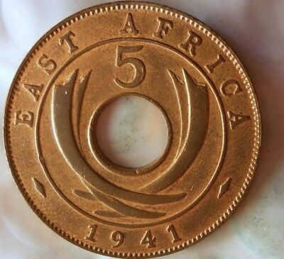 1941 I BRITISH EAST AFRICA 5 CENTS - AU - Rare Exotic African Coin - Lot #613