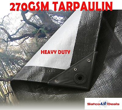 270Gsm  Black/silver Heavy Tarpaulin Waterproof Sheet Cover With Eyelet Tarp