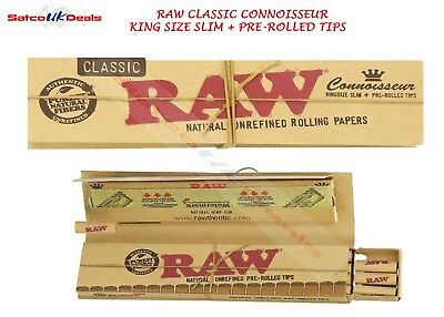 KING SIZE SLIM & PRE-ROLLED TIPS RAW Classic Connoisseur Filter Roach NEW UK