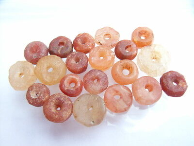 20 Ancient Neolithic Carnelian, Rock Crystal, Quartz Beads, Stone Age, RARE !!