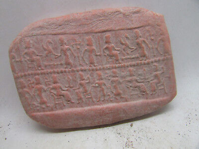 Ancient Near Eastern Terracotta Roll Seal Tablet Battle Scenes