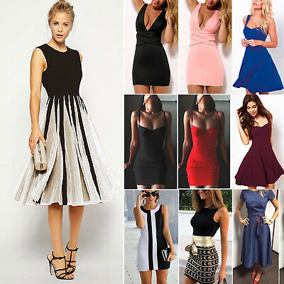 Women Sleeveless Dress Evening Cocktail Party Summer Bodycon Short Mini Dresses
