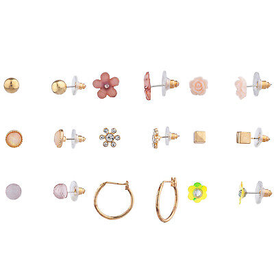 Lux Accessories Rose Gold Tone Assorted Styles Mixed Stud Earrings Set of 9