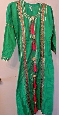 Long Indian Dress Embellished with Decorations, Size Small