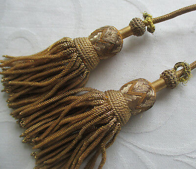 Set of Vin. Gold Metallic Vestment Tassels Tightly Woven Tops Coiled Strands