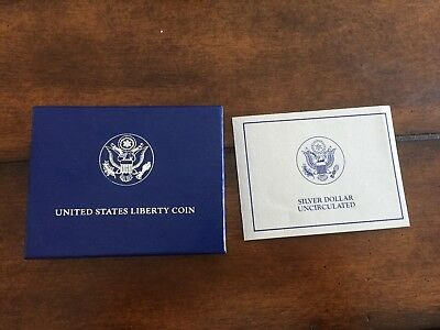 1986 Uncirculated US Liberty Silver One Dollar $1 Commemorative Coin w/Box Paper