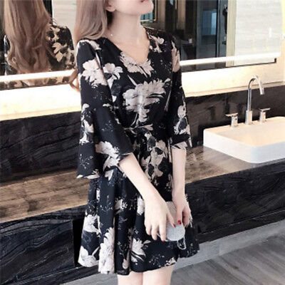 Fashion Princess Dress Midi Flower Printed Long Sleeved Dresses Sexy Party Dress
