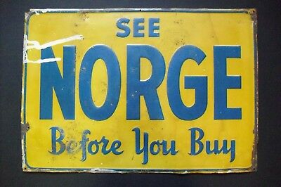 """""""See NORGE Before You Buy"""" vintage metal tin sign, appliance manufacturer"""