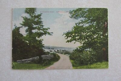 b291 Vintage postcard A Country Road Janesville Wisconsin WI 1909