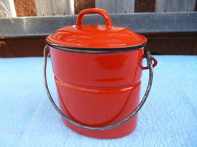 Vintage Small Red Enamel Lunch Box, Unusual , Excellent Condition.