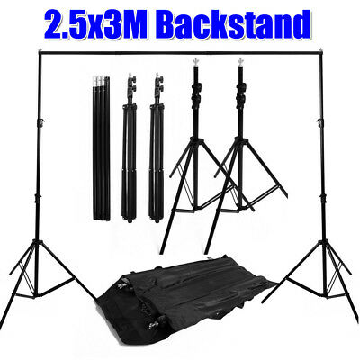 Photo Studio 2.5x3m Adjustable Heavy Duty Backdrop Background Support Stand KIT