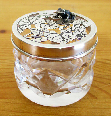 Harman Brothers Small Glass Pot Pourri Holder with B'ham Hallmark Silver Lid