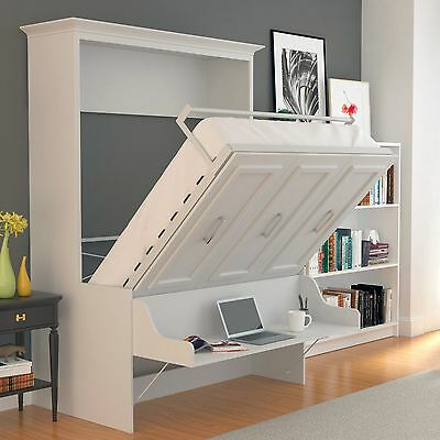 Urban Loft Allegra Queen Wall Bed Murphy Bed Easy Install White W Desk