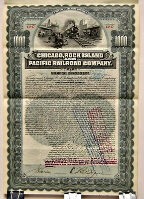 Cancelled Railroad Bond: Chicago, Rock Island & Pacific Railway $1000 w/ Coupons