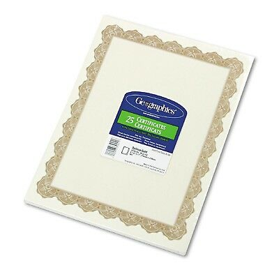 Geographics - Parchment Paper Certificates 8-1/2 x 11 Optima Gold Border 25 Pack
