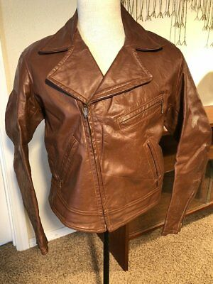 Rare Vintage 1960s Taubers Brown Leather Motorcycle Hippie Hipster Jacket