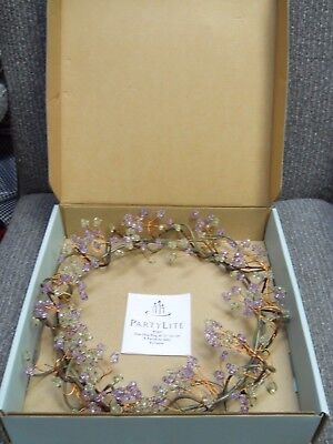 Partylite Dew Drop Purple and Green Beaded Wreath