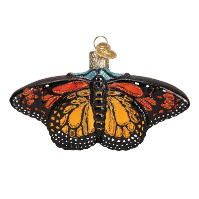 """""""Monarch Butterfly"""" (12475)X Old World Christmas Glass Ornament w/ OWC Box"""