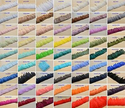 60 Colours Hackle Feather Trim for Millinery Craft Fascinators Hat Gown Costume