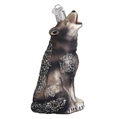 """Howling Wolf"" (12163)X Old World Christmas Glass Ornament w/ OWC Box"