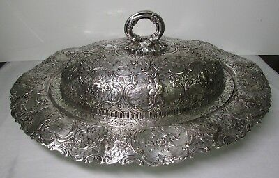 Antique English Silver Plate Over Copper Cross London Lidded Vegetable Dish