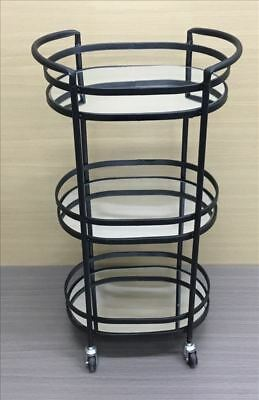 Willow Auto Bar Cart Trolley On Wheel Mirror Table Serving Restaurant Black