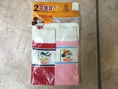 Vintage Disney Mickey Mouse Donald Duck Socks Infant Toddler Size 4-6.5,  nylon