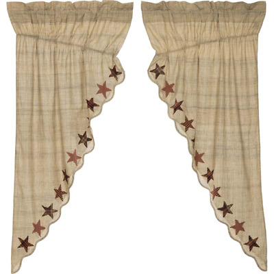 Abilene Star Scalloped Cotton Primitive Country Cottage Window Prairie Curtains