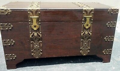 ANTIQUE CHINESE LARGE WOOD CHEST WEDDING TRUNK Ornate Brass Straps & Accents